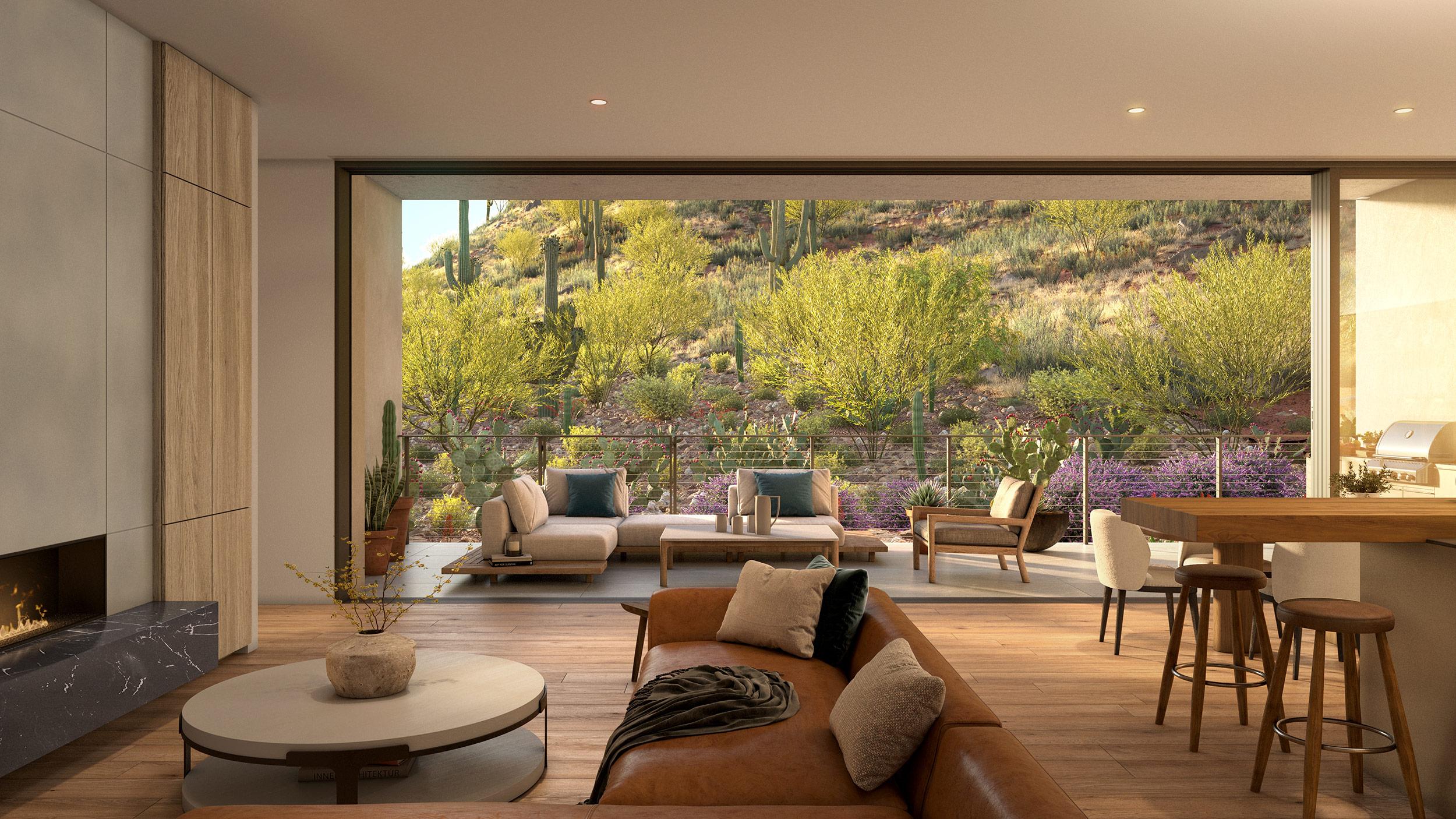 Interiors open to the cactus garden and Camelback Mountain's natural flora and fauna.