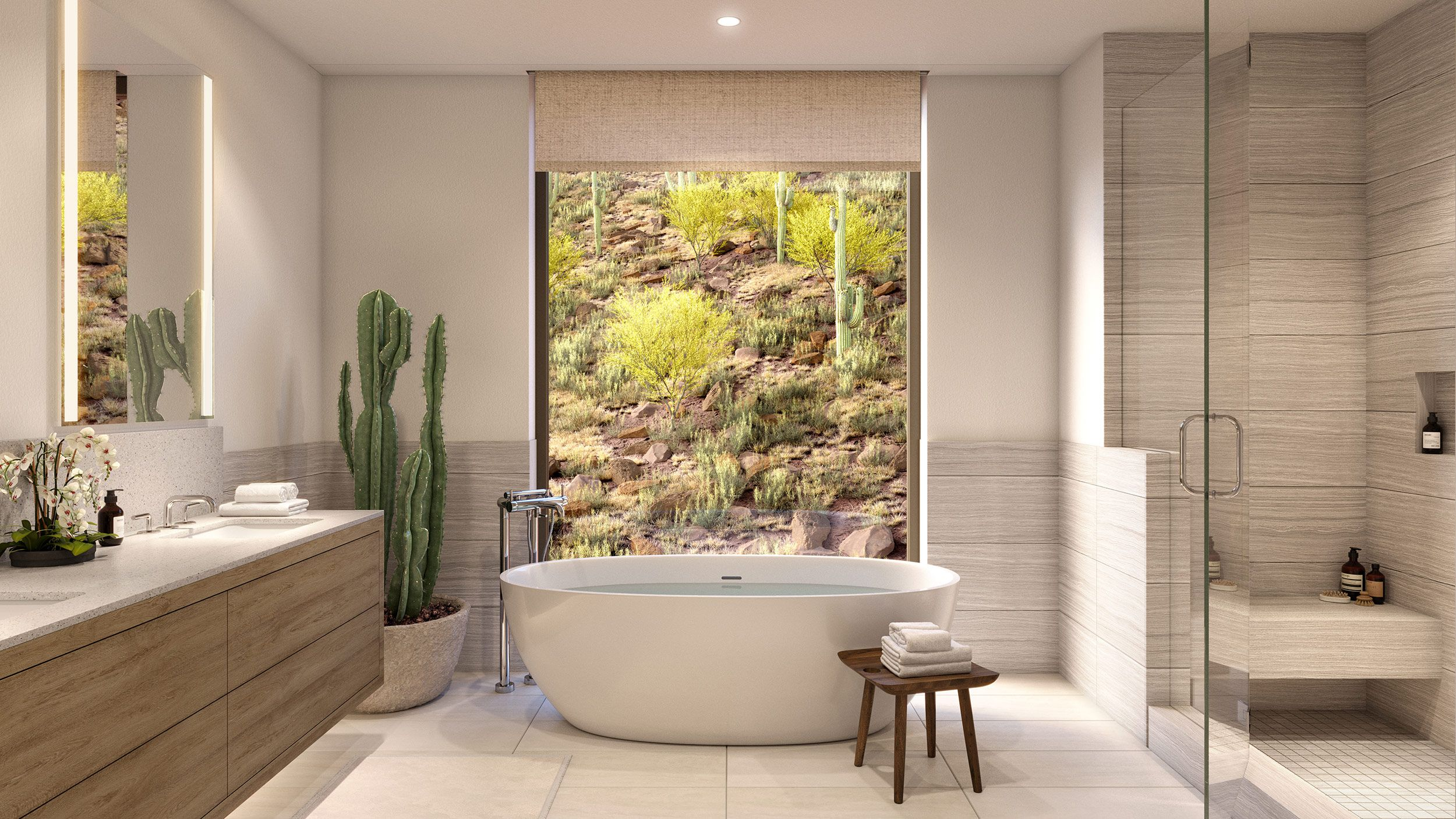 Spa-inspired master bathrooms featuring frameless glass shower, freestanding tub, and elegant Waterworks fixtures.
